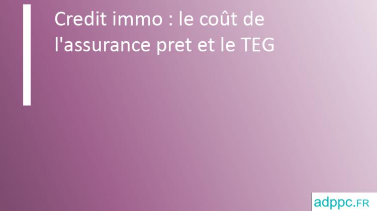 Credit immo: le coût de l'assurance pret et le TEG