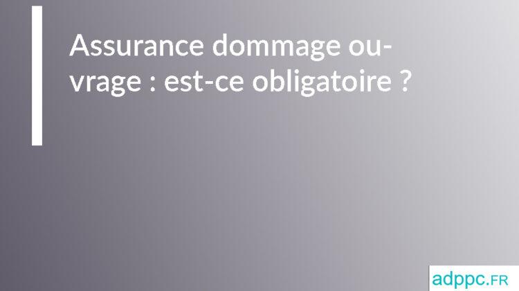 Assurance dommage ouvrage: est-ce obligatoire?