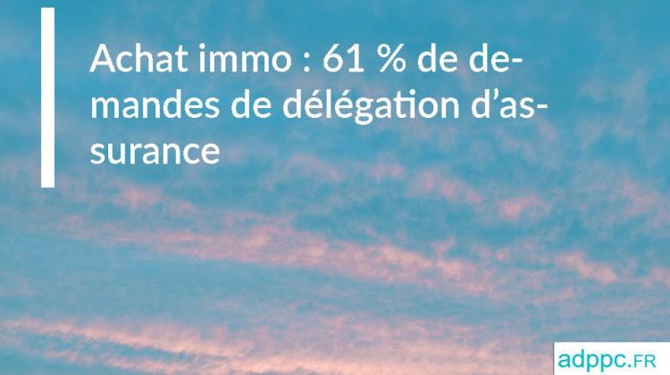 Achat immo : 61 % de demandes de délégation d'assurance