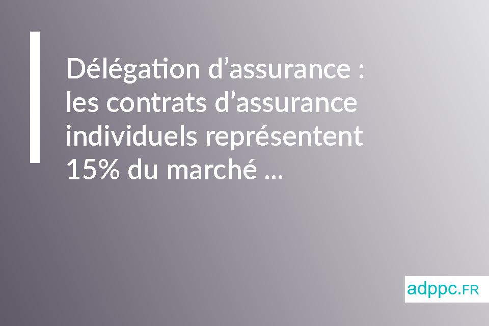 Délégation d'assurance: les contrats d'assurance individuels représentent 15 % du marché
