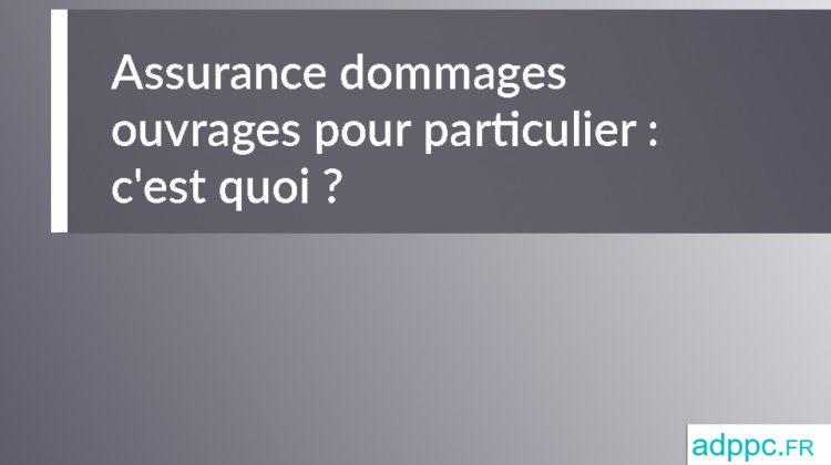 Assurance dommages ouvrages pour particulier: c'est quoi?
